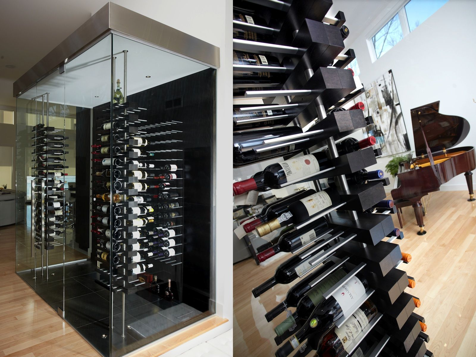 Luxury Wine Cellar With Floor To Ceiling Mounted Floating Wine Racks Wine Rack Wine Glass Rack Wine Room