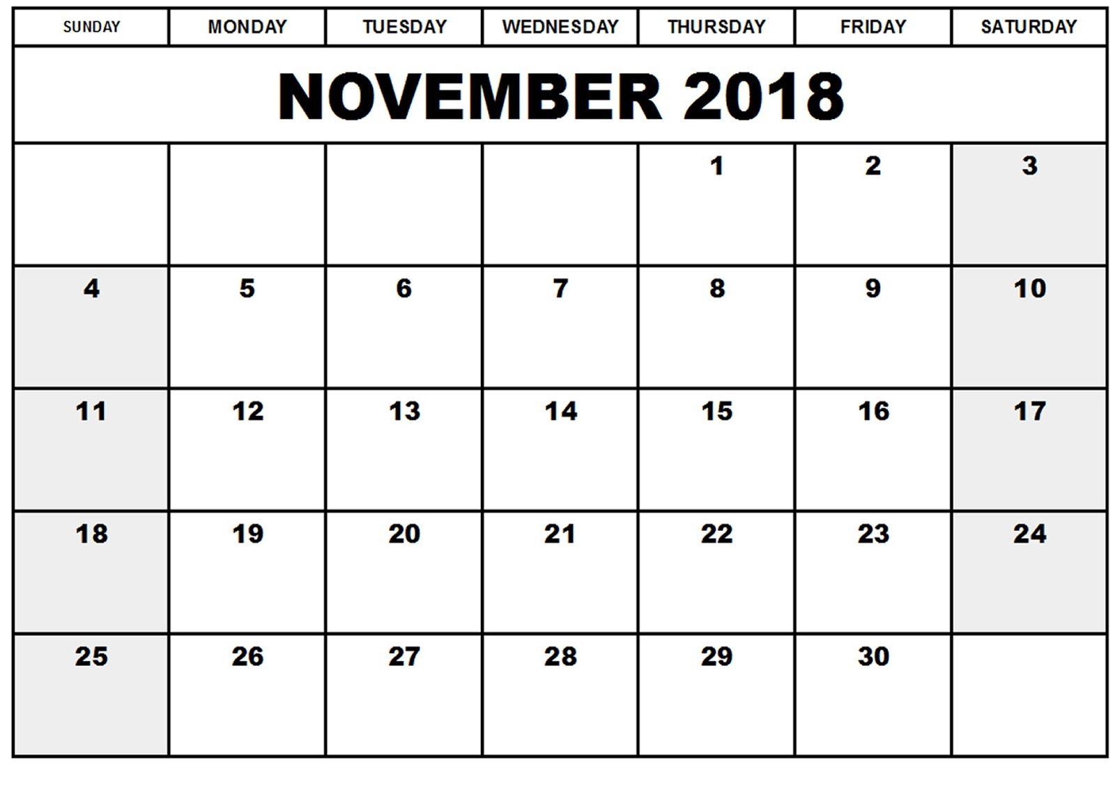 november 2018 printable calendar template november 2018 calendar