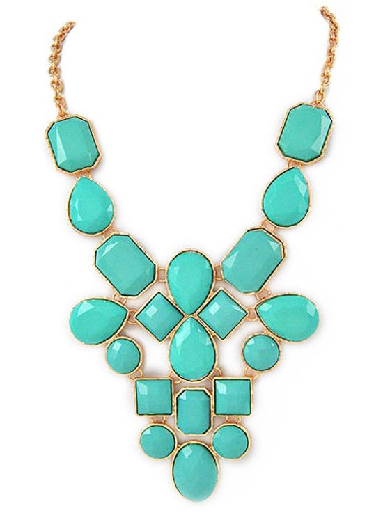Aqua Jewel Statement Necklace