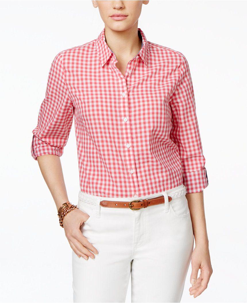 Tommy Hilfiger Gingham Shirt - Tops - Women - Macy s   Moda y Estilo ... 2be8af5d26