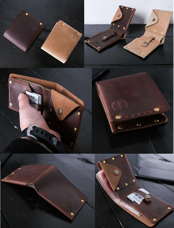 Handmade Genuine Leather Billfold Wallet Business Card Holder Case ...