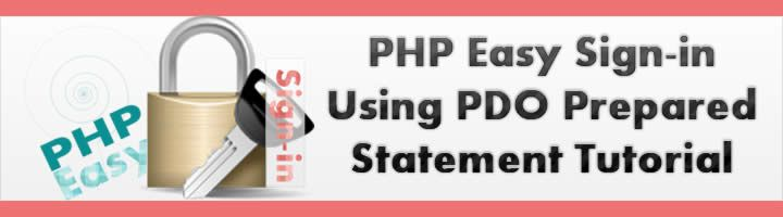 PHP easy sign-in using PDO prepared statement tutorial will teach you how to make a log in system using PDO (PHP Data Objects) queries. This tutorial contains very basics and easy steps so anyone can understand it and implement it. Source code for sign-in tutorial is also available for you. We will use bootstrap as CSS Framework with PHP and MySQL. We will also understand how to protect pages from unauthorized access if someone knows the link and directly type in browser.