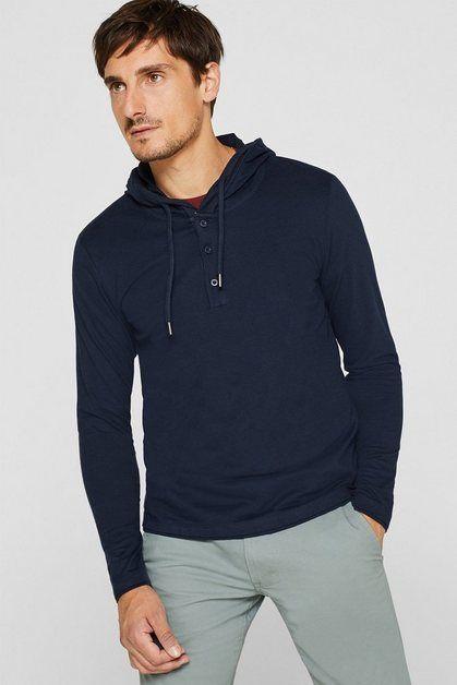 Esprit Jersey Longsleeve Mit Kapuze 100 Baumwolle Online Kaufen Mit Bildern Hemd Shirts Sportlicher Look