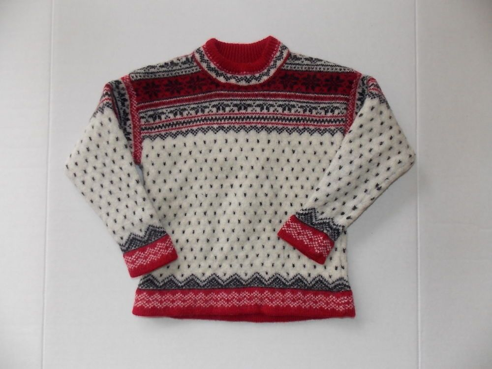 LANDS END Sweater Kids Winter Nordic Fair Isle Snowflake Red white ...