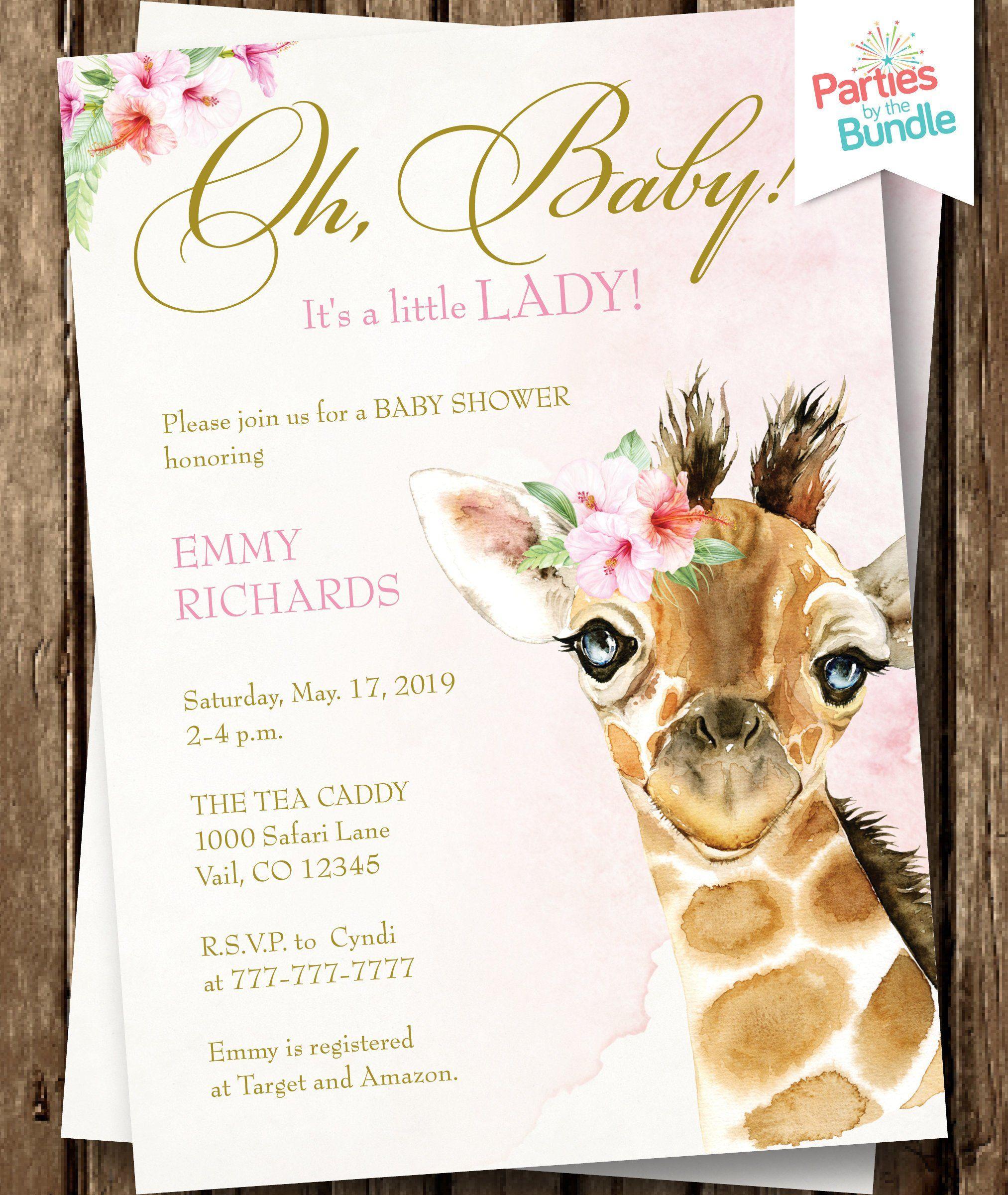 Safari Baby Shower Invitation Baby Safari Girl Shower Etsy