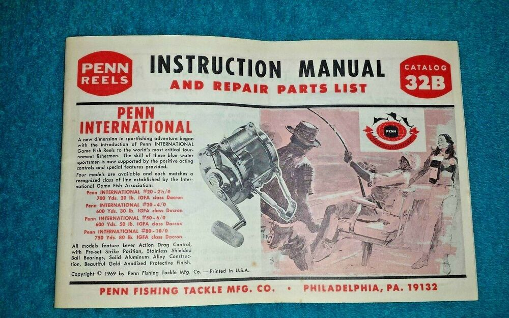 VINTAGE PENN REELS 32B INSTRUCTION MANUAL & PARTS LIST #Penn
