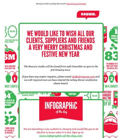 bold design that's made to look like it's set on Christmas-themed infographic wrapping paper