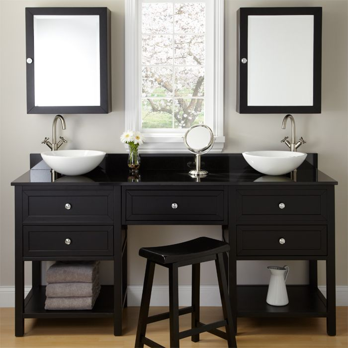 Black Double Vanity For Vessel Sinks With Makeup Area | Signature Hardware