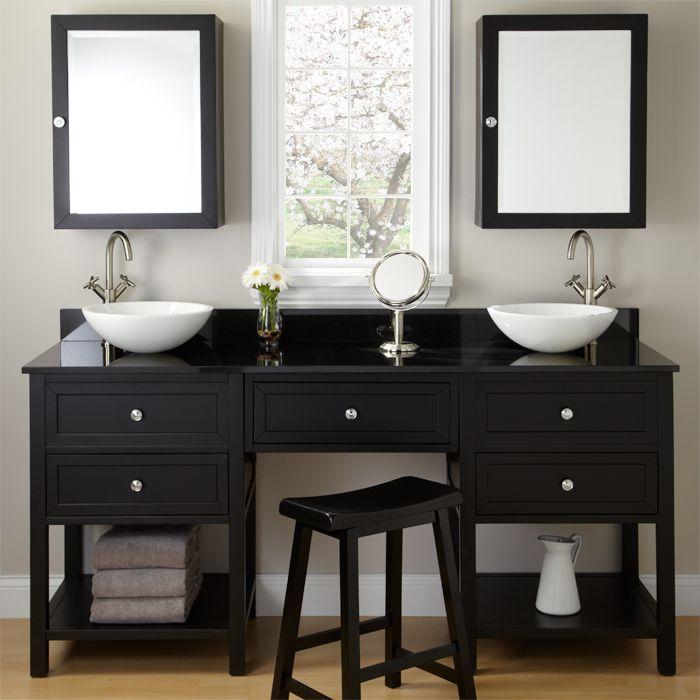 Black Vanities For Bathrooms black double vanity for vessel sinks with makeup area | signature