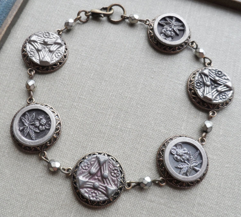 Antique On Bracelet Fl Design Shades Of Gray Tint Pink Tink Sample