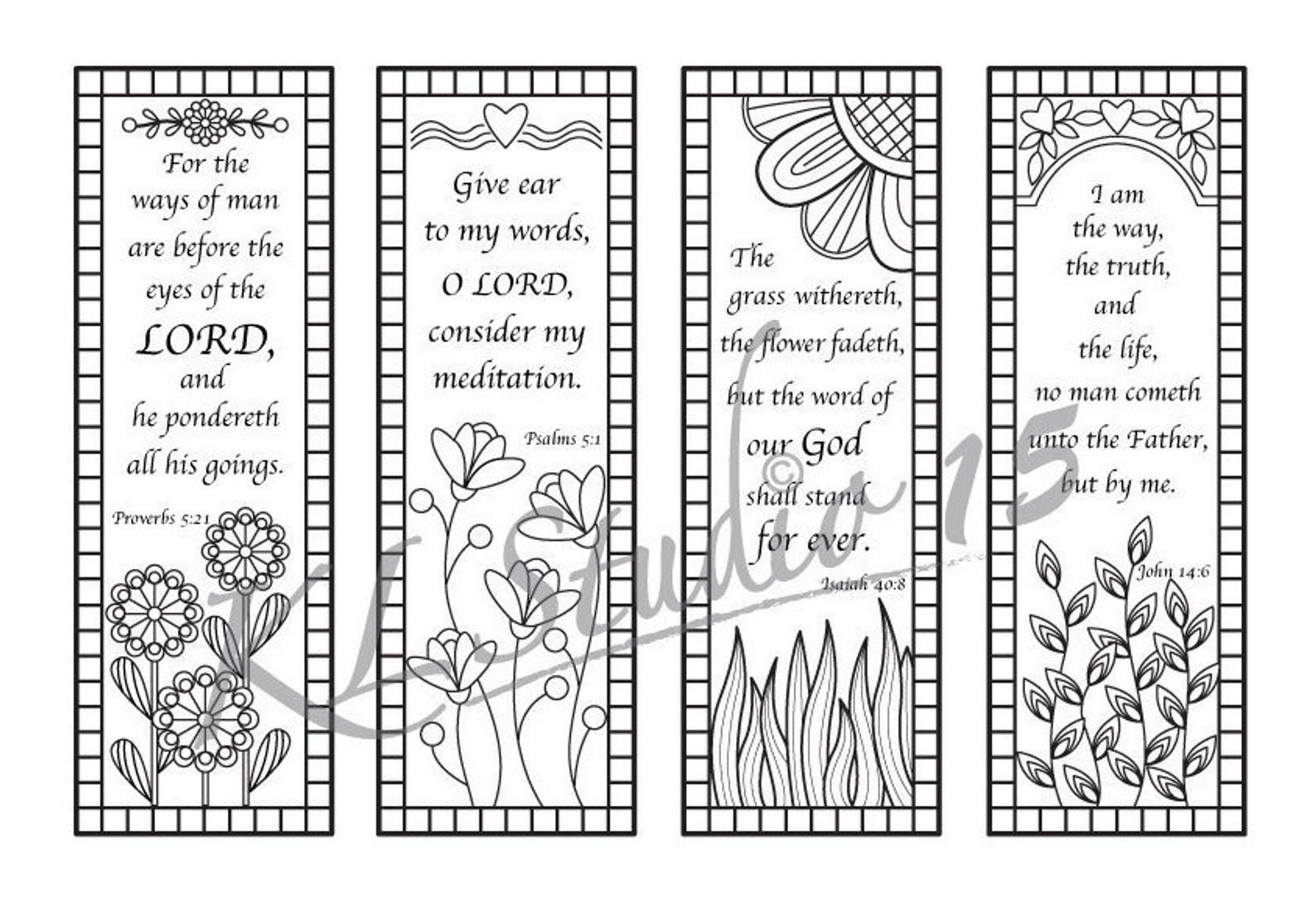 Bible Verse Coloring Bookmarks Instant Download Bible Coloring