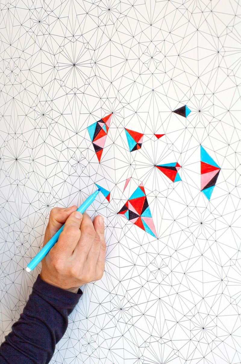 This Geometric Coloring Wallpaper 4467 Per Roll From Kidivist On Etsy Presents A Lot Of Possiblities
