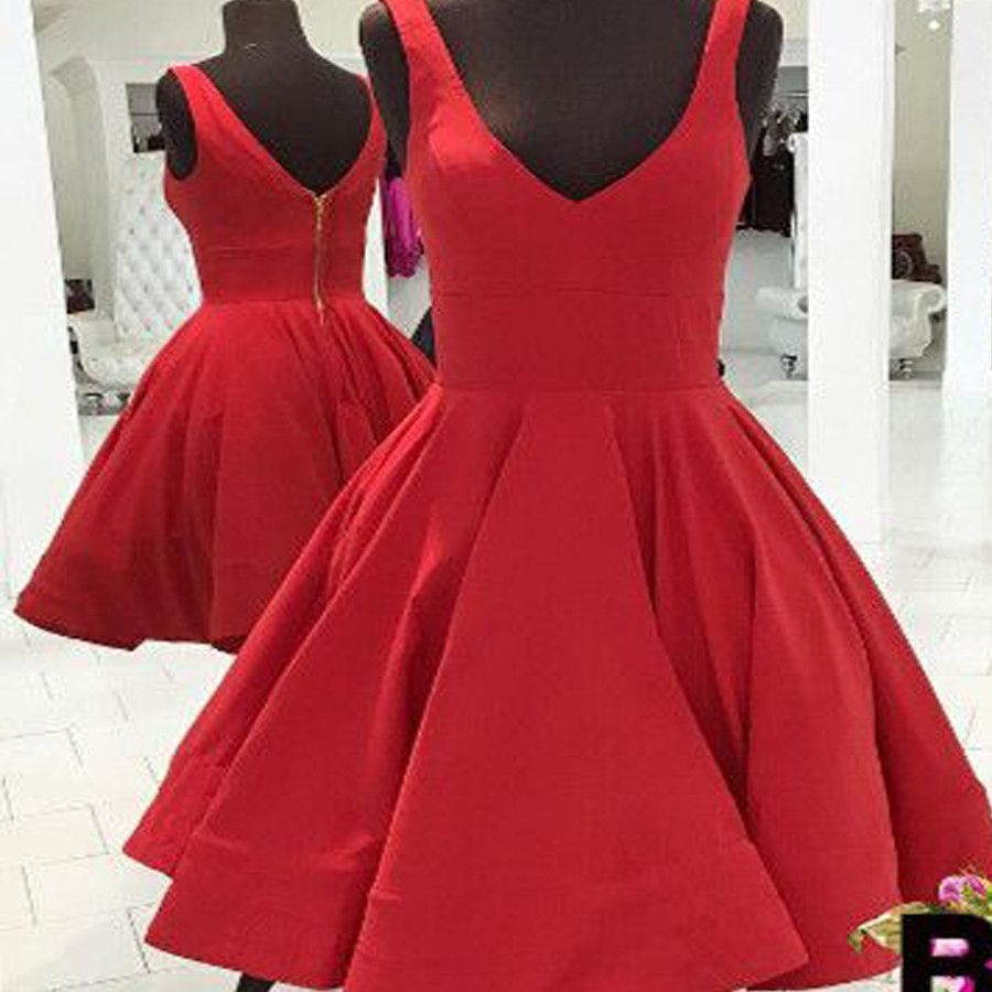 Blush red simple vneck freshman aline cheap homecoming prom gown
