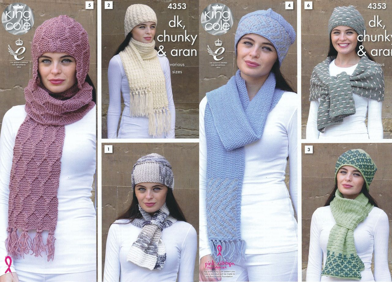 King Cole DK Chunky & Aran Knitting Pattern - Ladies Hats & Scarves (4353) - Mill Outlets