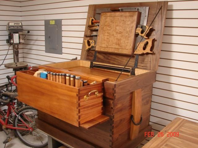 Custom Made Walnut Tool Chest Wood Tool Box Woodworking Box Tool Chest