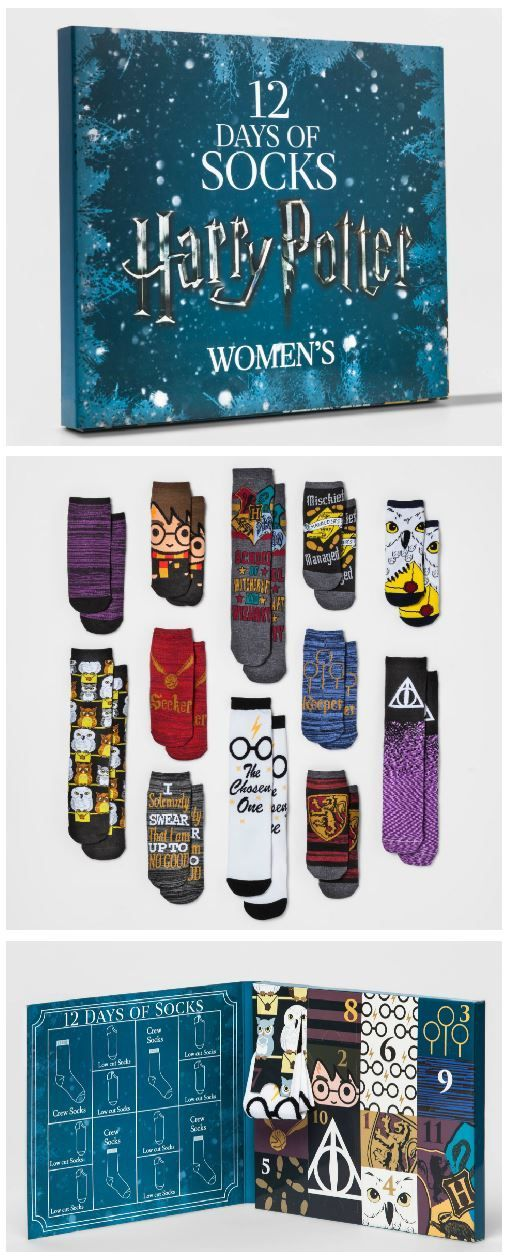 harry potter 12 days of socks oh my gosh this is the best christmas advent calendar ive ever seen i need these perfect gift for any harry potter fan