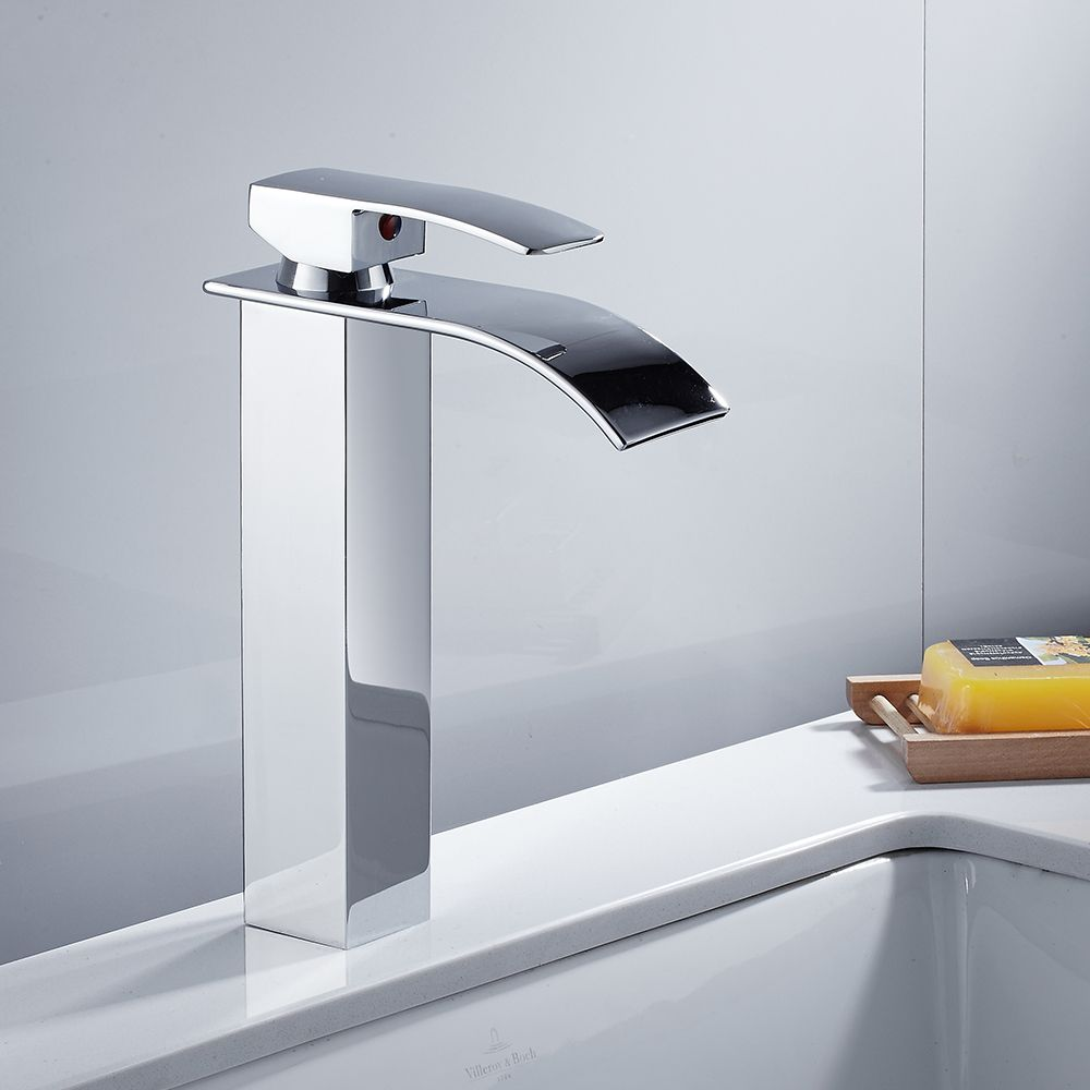 Modern High Bathroom Sink Faucet Brass Wide Flowing Single Handle ...