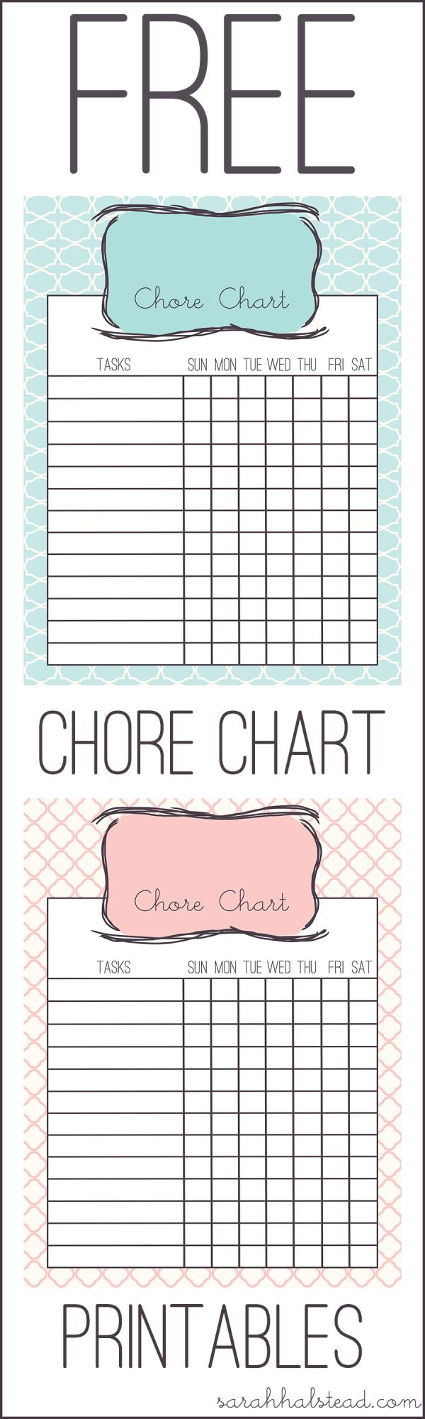 Chore Chart Free Printable  Free Printable Chore Charts