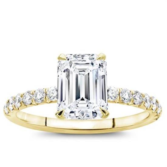 French Cut Diamond Basket Engagement Setting