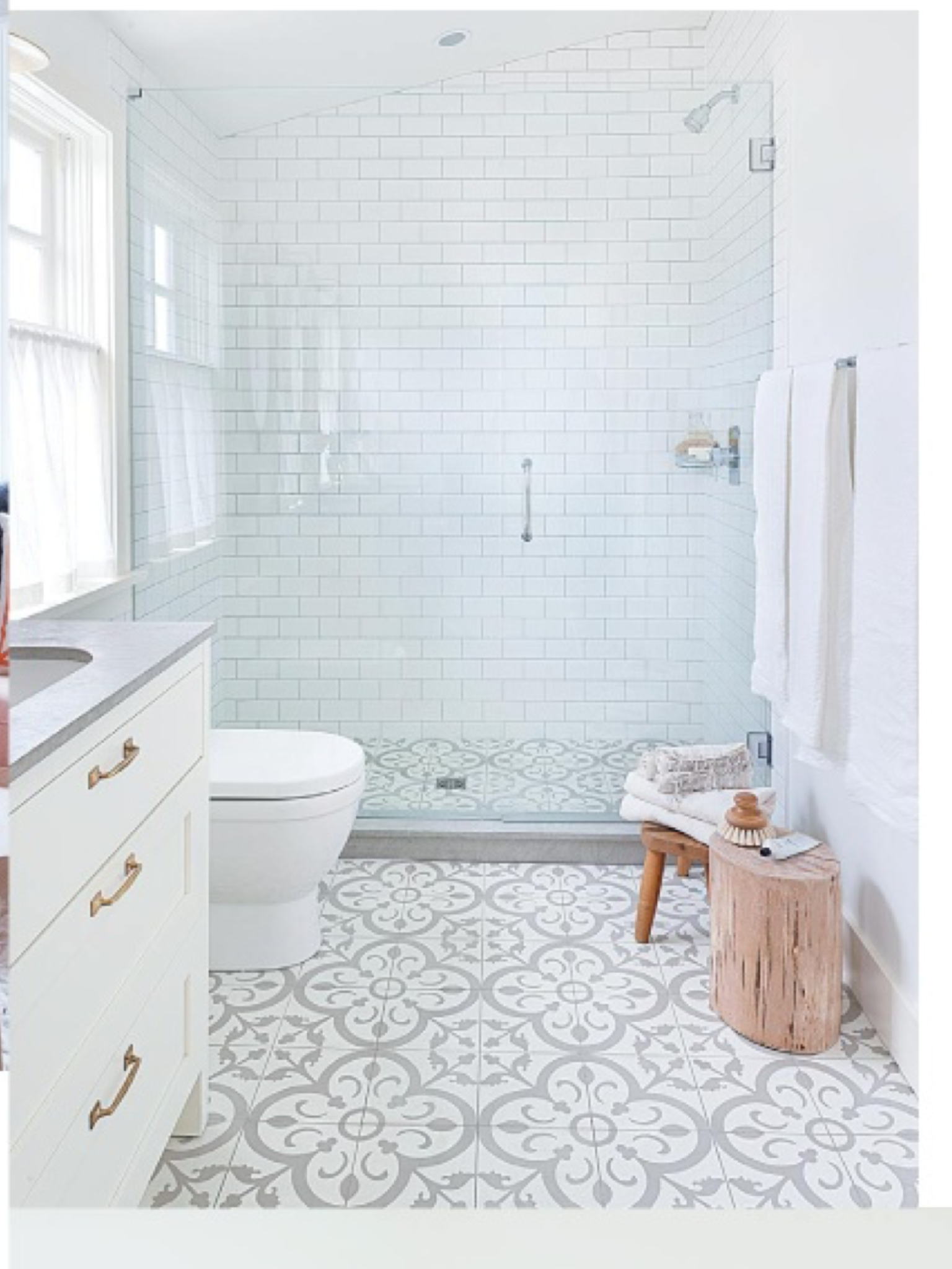 Yes clean fresh classic craftsman home pinterest walkways bathroom floor tile not so plain white bathroom with great walk in shower grey white floor tiles and grey countertop add interest to basic white room dailygadgetfo Images