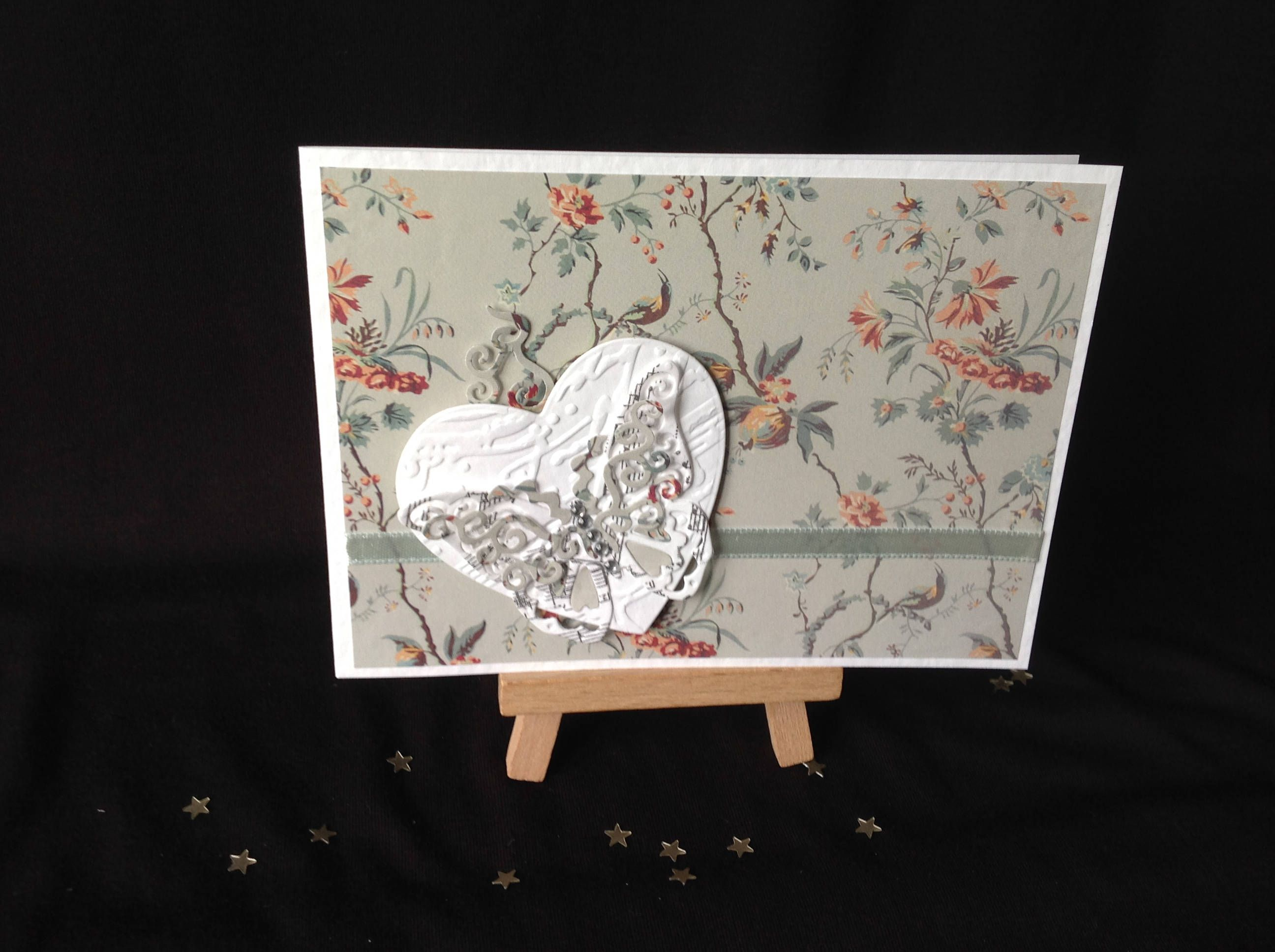 Vintage Paper Music Theme Greeting Cardnotelet Butterfly Heart By