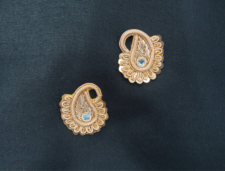 5 Pcs Latest Indian Flower Shaped beaded Embroidery Headband zardosi Applique