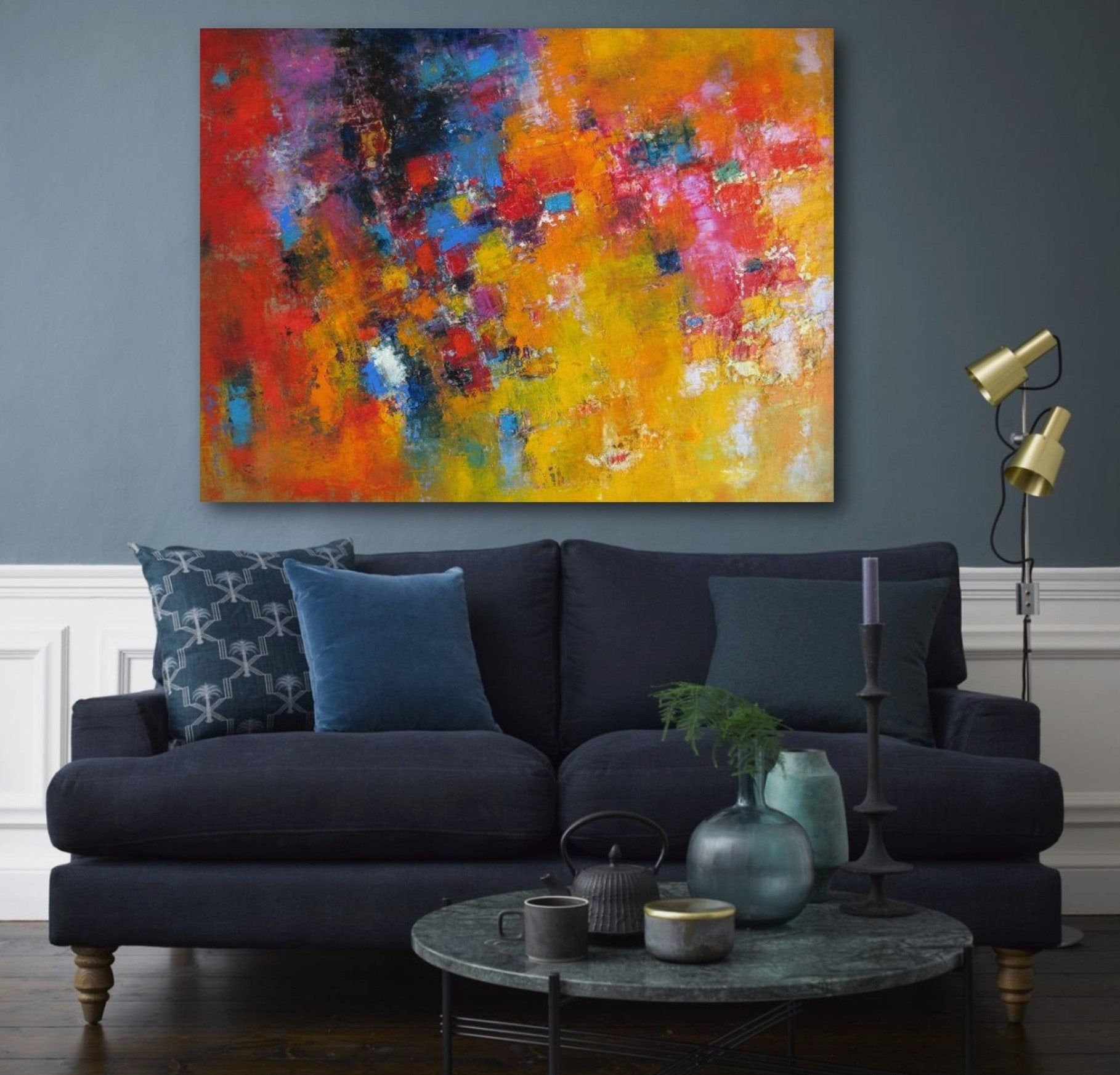 Original Abstract Art Canvas Extra Large Colorful Wall Art Oil Etsy Bright Abstract Art Colorful Wall Art Blue Abstract Wall Art