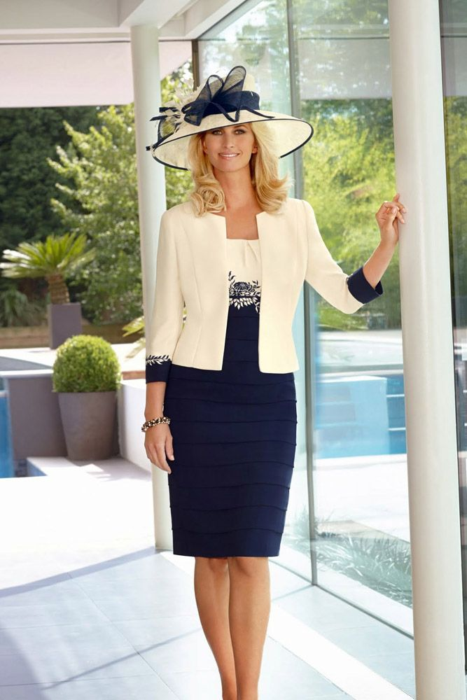 57b2c2d5b5d ... traditional design in Cream   Navy and Bonbon   Navy – a perfect outfit  for fuller figures. The two tone crepe dress has pretty capped sleeves and  ...