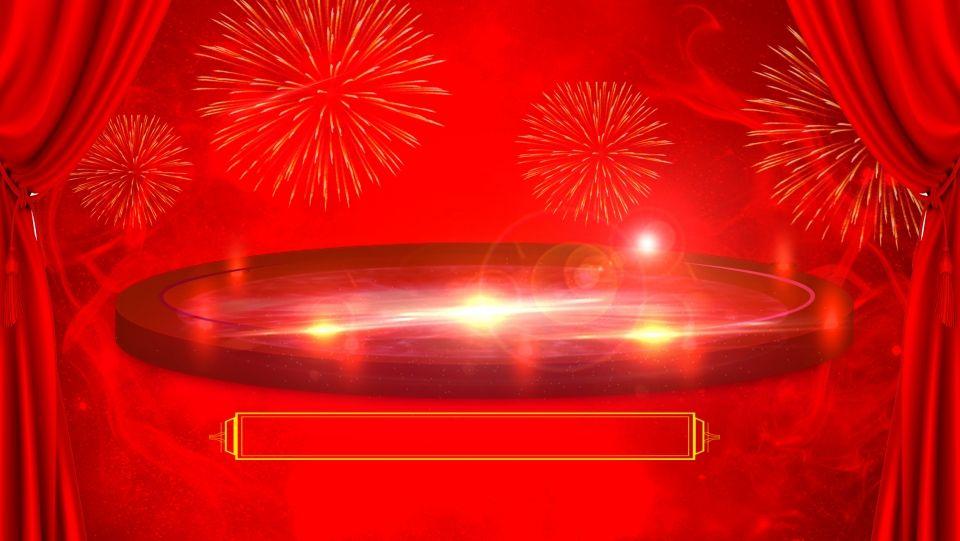 خلفية حمراء كبيرة مستديرة مرحلة الإعلان Colorful Art Neon Signs Background