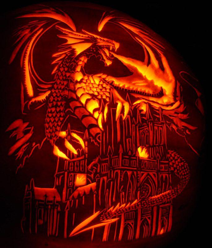 Pumpkin carving anne stokes dragon fury