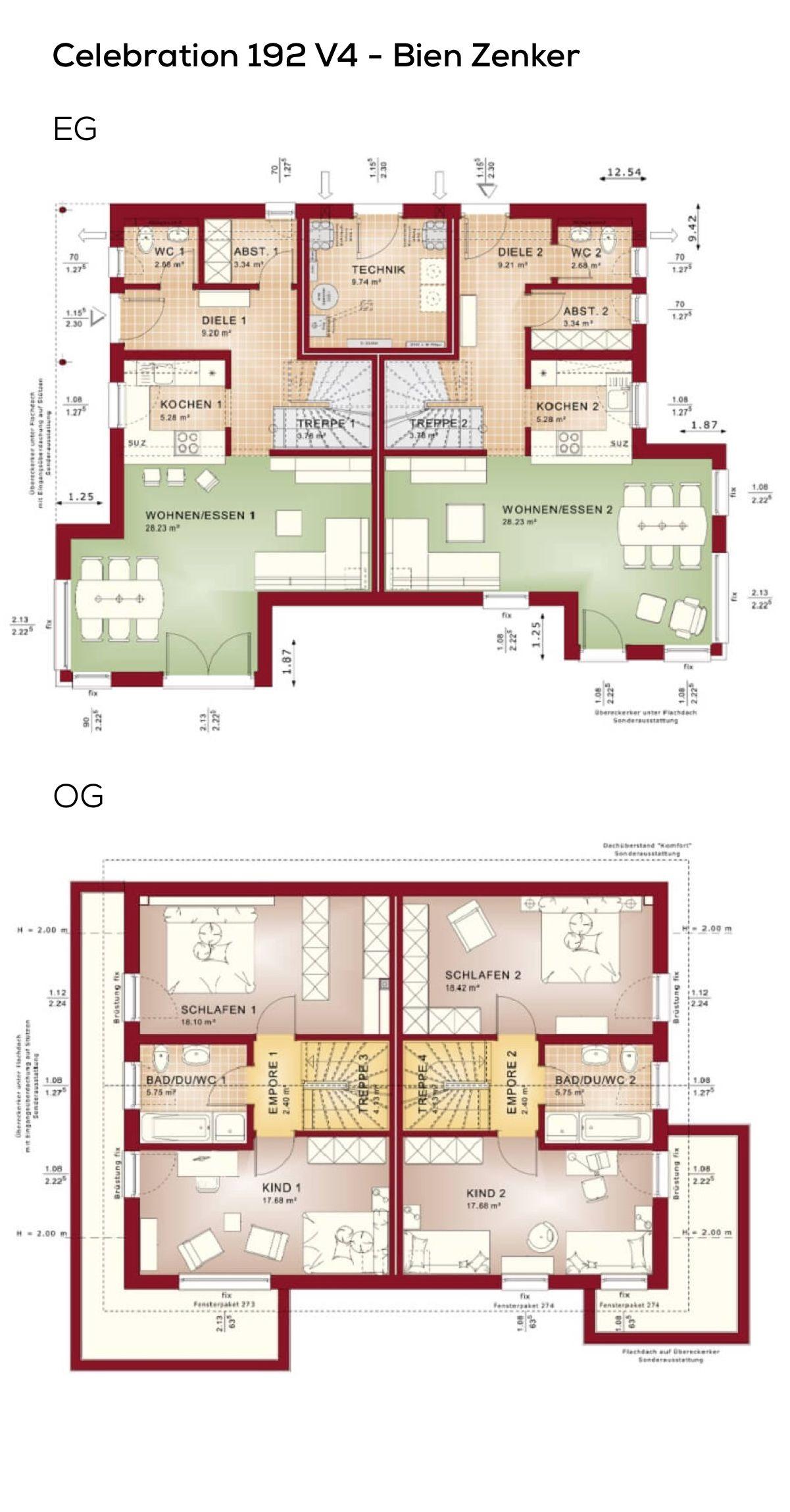 Grundriss zweifamilienhaus modern mit satteldach for Zweifamilienhaus modern grundriss