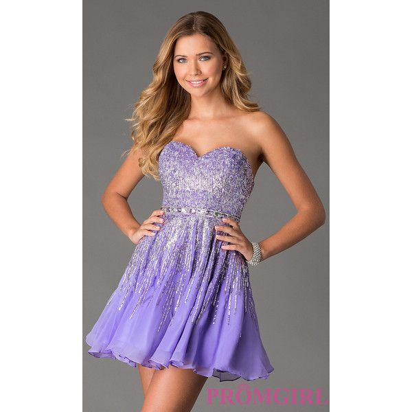 Sequin Short Strapless Purple Dress by Sherri Hill 8413 ($298) via Polyvore  featuring dresses