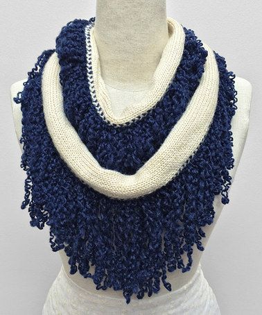 Another great find on #zulily! Navy & Beige Curled Fringe Infinity Scarf by East Cloud #zulilyfinds