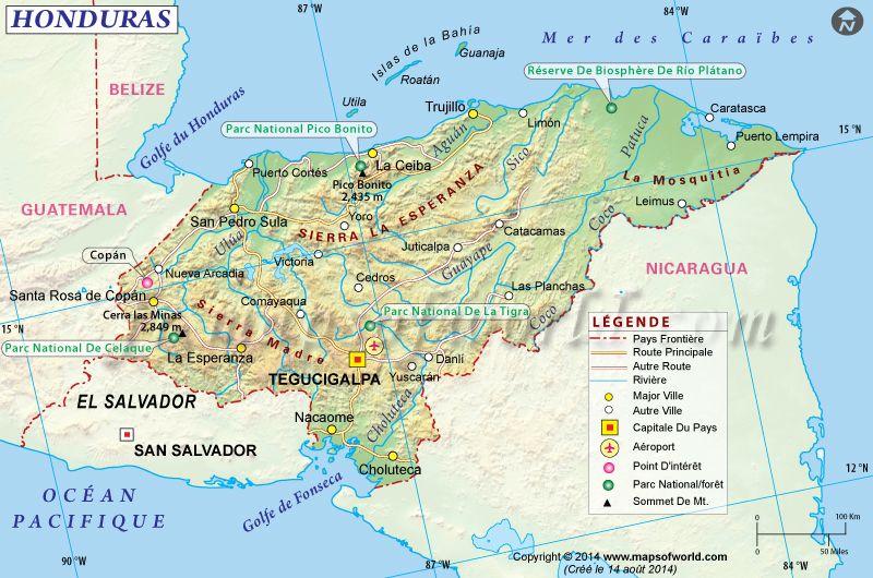 Honduras Carte Map of Honduras Carte du Monde Pinterest