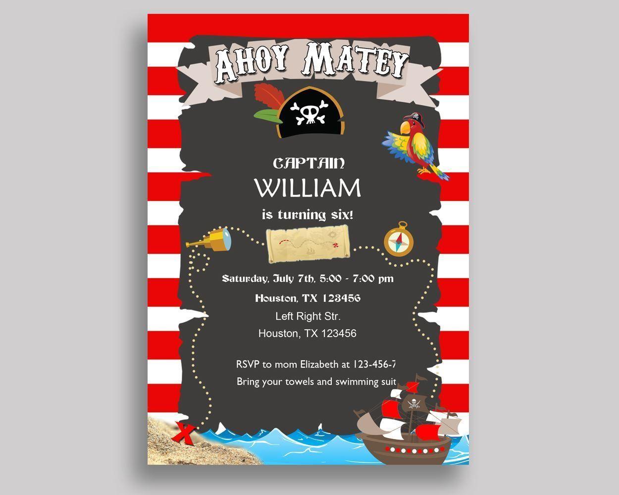 Pirate Birthday Invitation Pirate Birthday Party Invitation Pirate ...