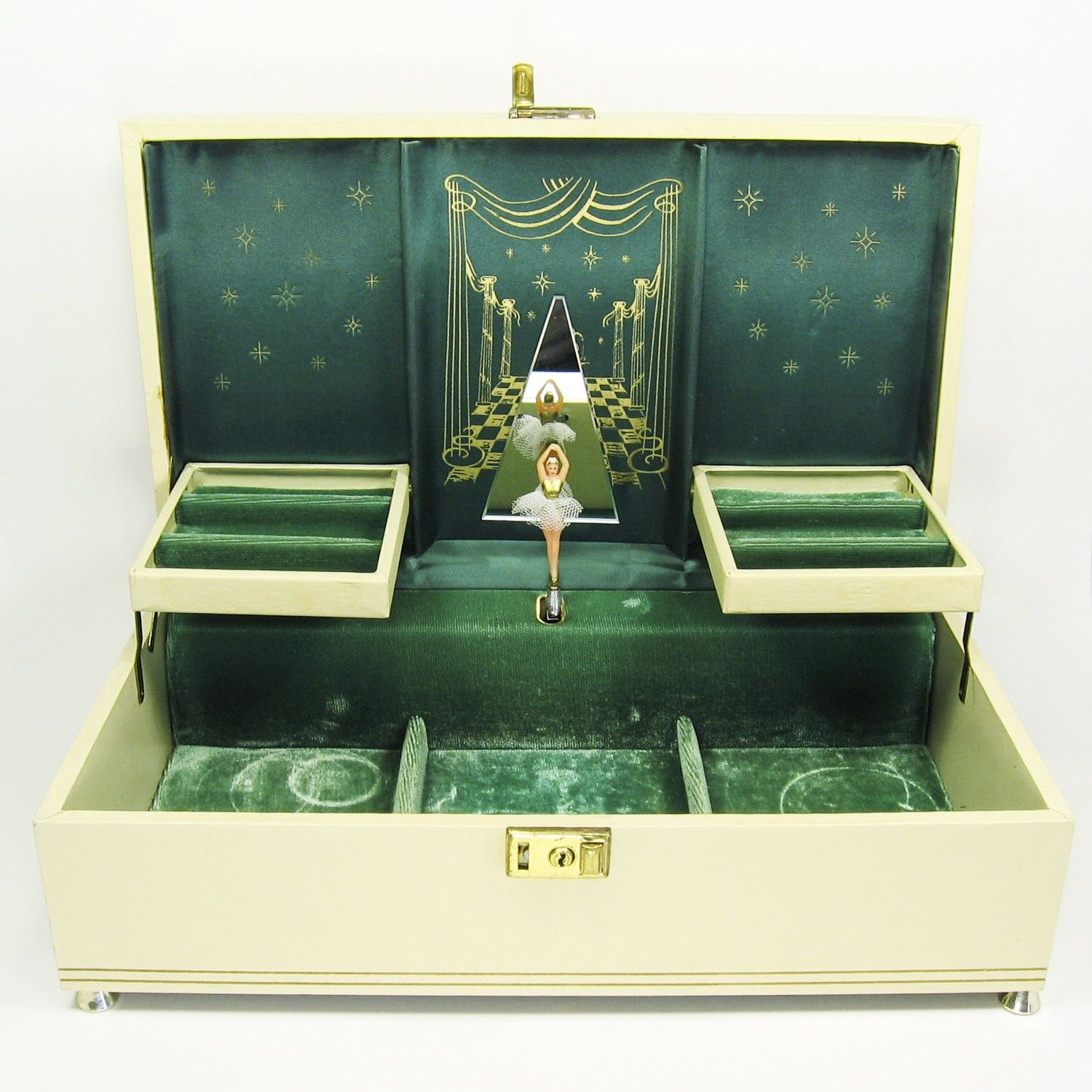 Vintage Cream and Antique Gold Ballerina Musical Jewelry Box 70s