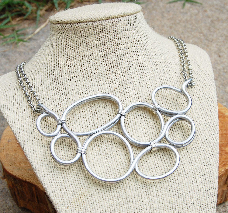 Bubbles Necklace, Large, Bib, Silver, Aluminum Wire, Wire Jewelry ...