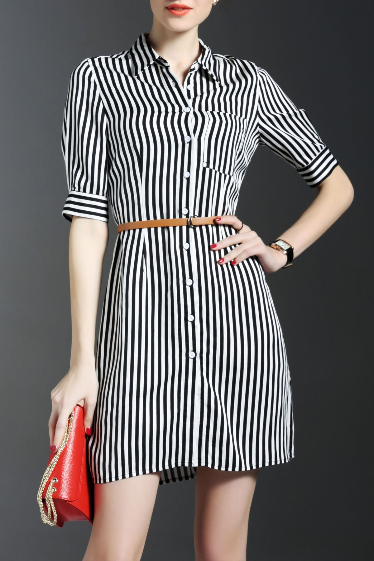 Stripe Print Belted Mini Dress