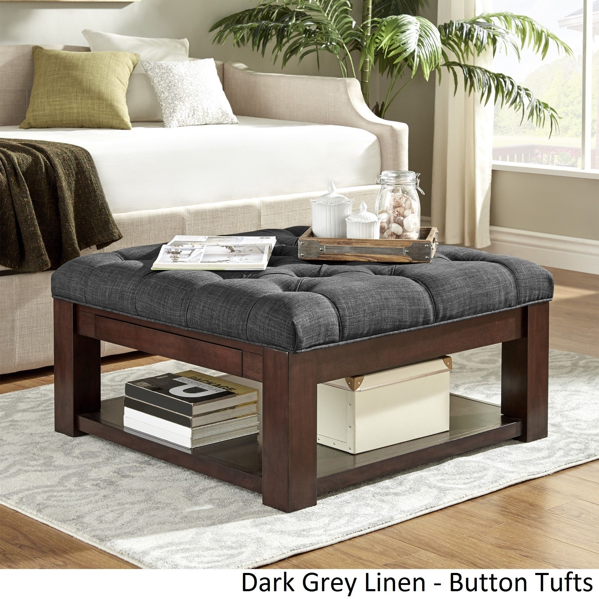 Lennon Espresso Square Storage Ottoman Coffee Table By INSPIRE Q Classic  ([Dark Grey Linen