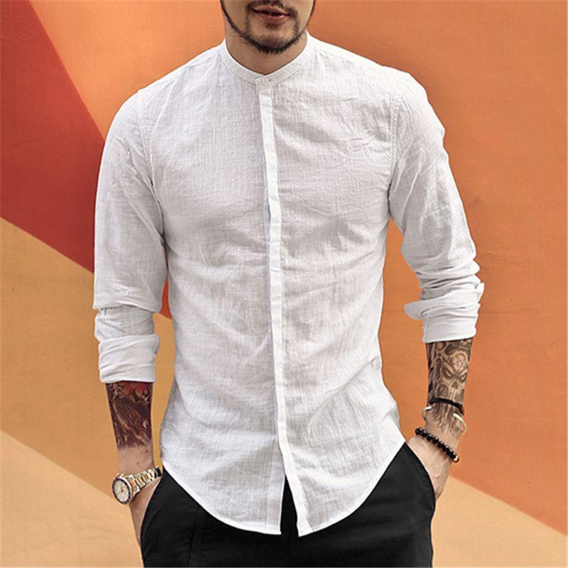 08e32887c5cc24 Casual Mandarin Collar Shirts Men Cotton Linen Designer Brand Slim Fit Man Shirts  Long Sleeve White Shirts Man Clothes summer jarrebnnee Worldwide Shipping  ...