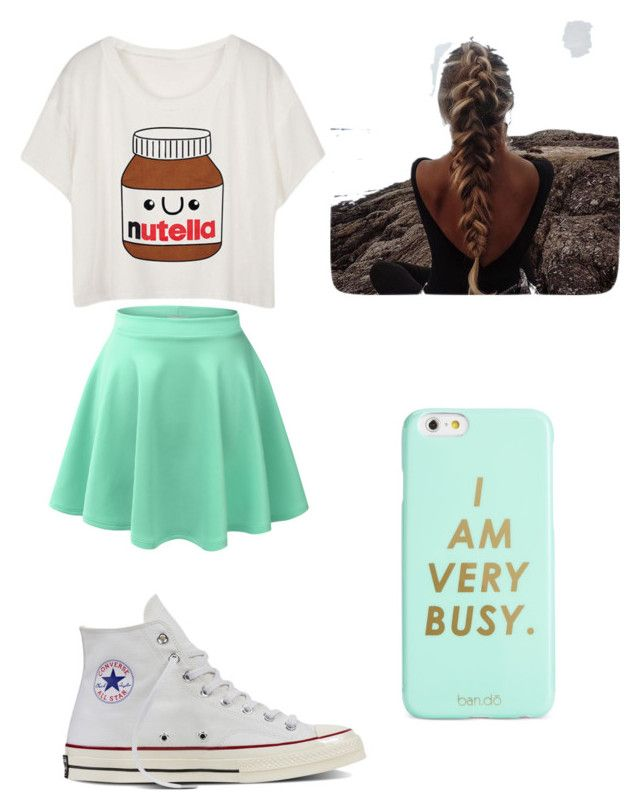 """Mint and Nuttella"" by tiaaarnaxo ❤ liked on Polyvore featuring LE3NO, Converse and ban.do"