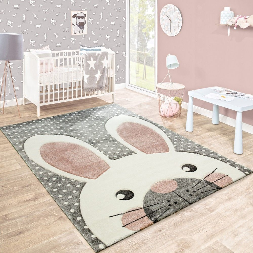 kinderteppich niedlicher hase grau pastell rosa in 2019 kinderzimmer. Black Bedroom Furniture Sets. Home Design Ideas