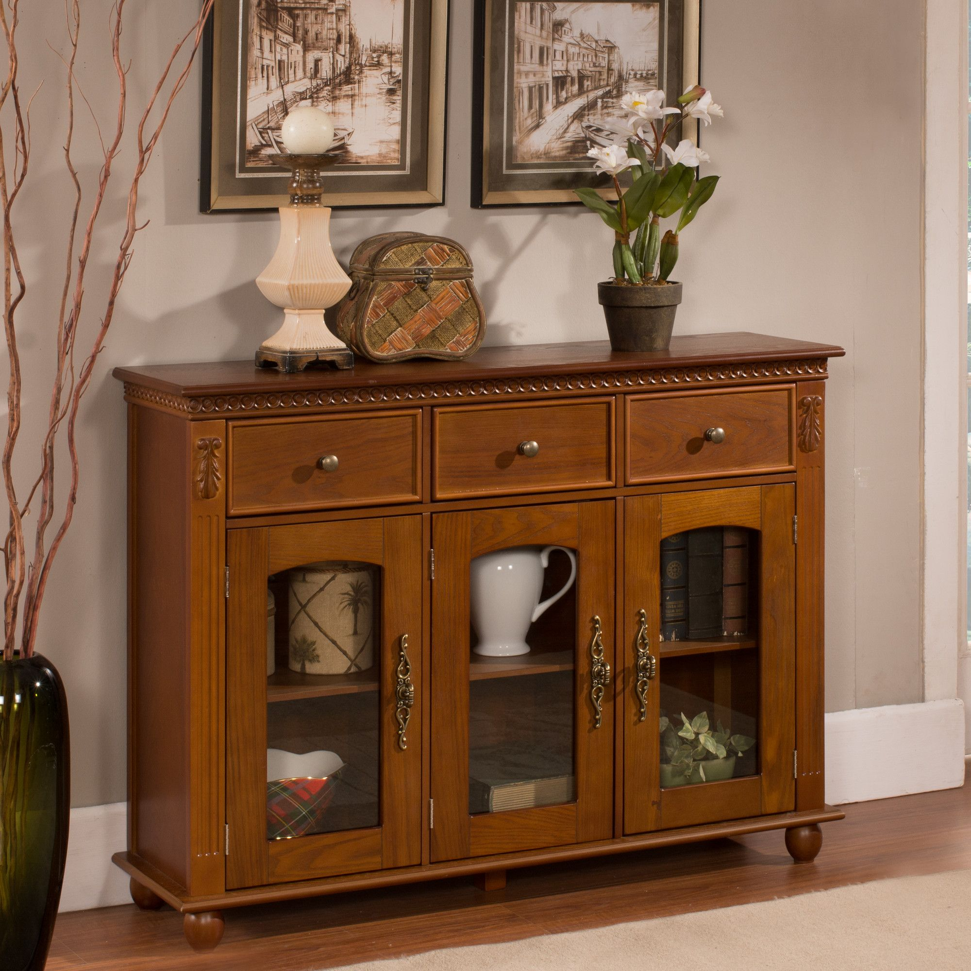 Michigamme Console Table Cabinet Gl Front Door Doors Tv Furniture Dining
