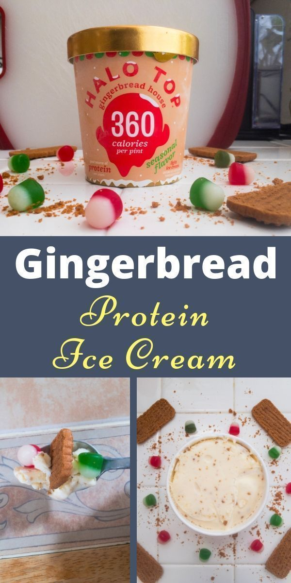 Gingerbread Protein Ice Cream #proteinicecream Gingerbread Protein Ice Cream. The best Halo Top ice cream flavor yet. A low sugar and high protein ice cream that is sure to satisfy your sweet tooth. This is healthy ice cream is great for a holiday dessert. Who doesn't love soft gingerbread cookies? #gingerbreadcookies #proteinicecream #healthyicecream #lowsugar #highprotein #proteindessert #gingerbreadcookies #holidaydessert #holidayicecream #sweettooth #gingericecream #proteinicecream Gingerbre #proteinicecream