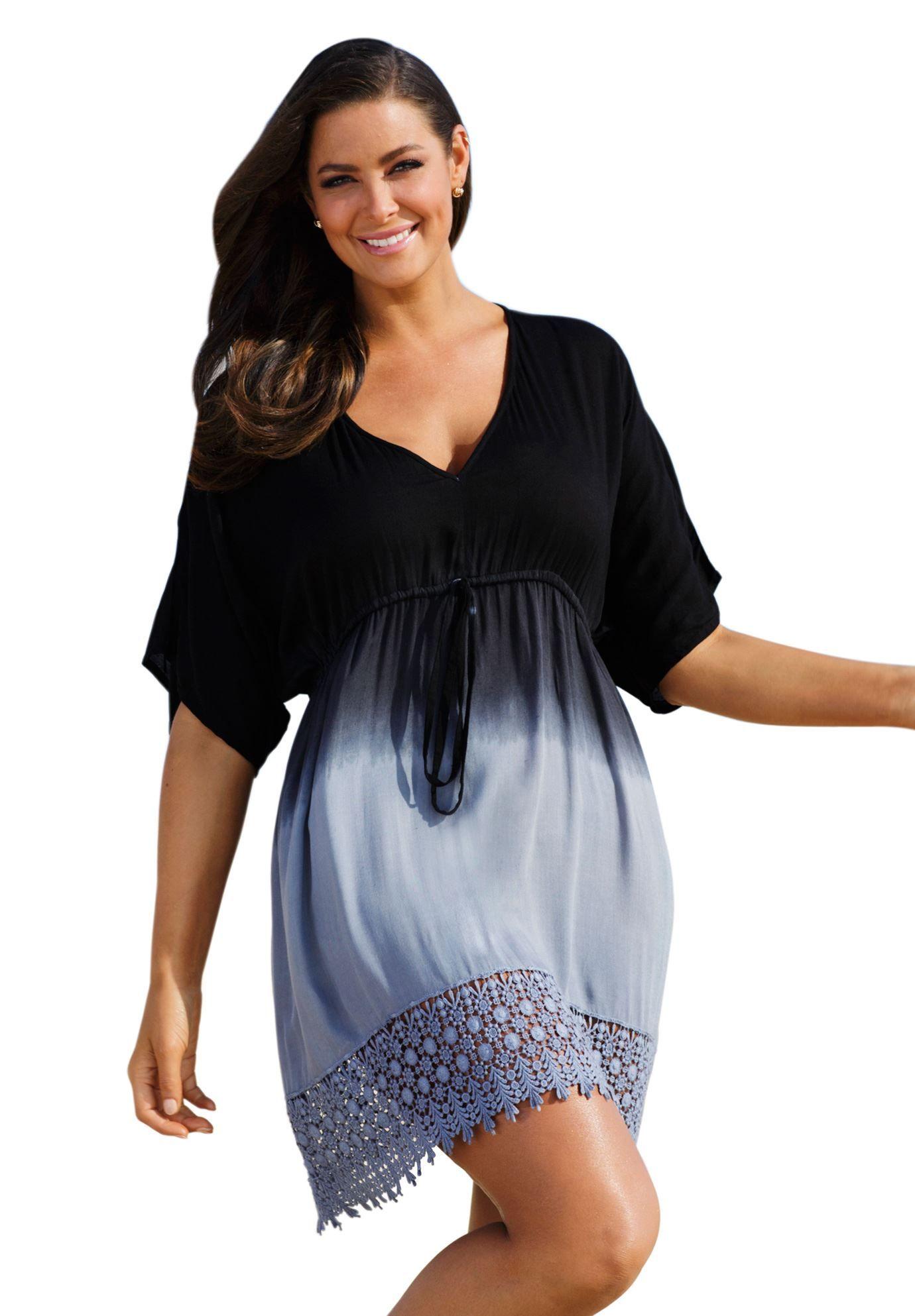 Black Grey Ombre Crochet Cover Up Plus Size All Swimwear