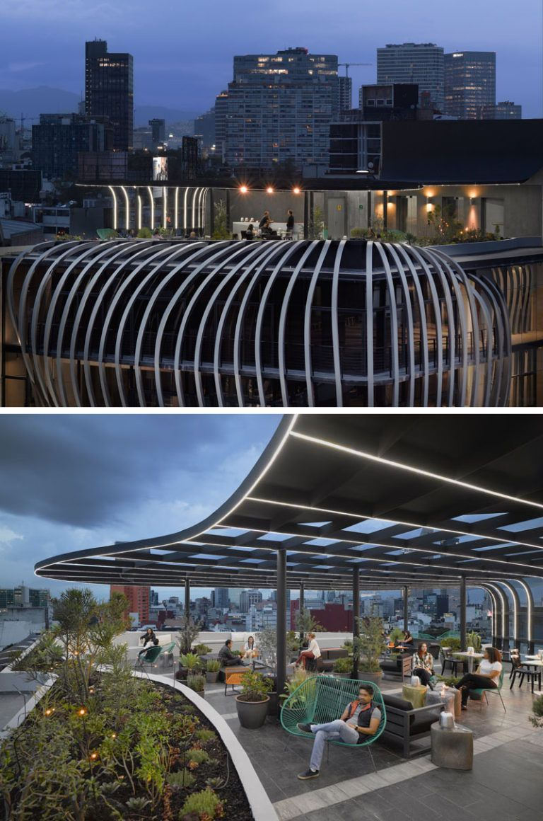 This Modern Office Building Has A Sculptural Facade And A Rooftop Patio With Plenty Of Seating Optio In 2020 Rooftop Design Building Commercial And Office Architecture