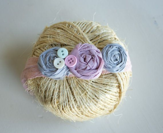 Grey and Dusty Purple rosette headband by KISCreationz on Etsy, $10.00