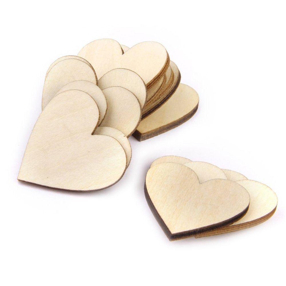 OULII Blank Heart Wood Slices Discs Wedding Christmas Ornaments ...