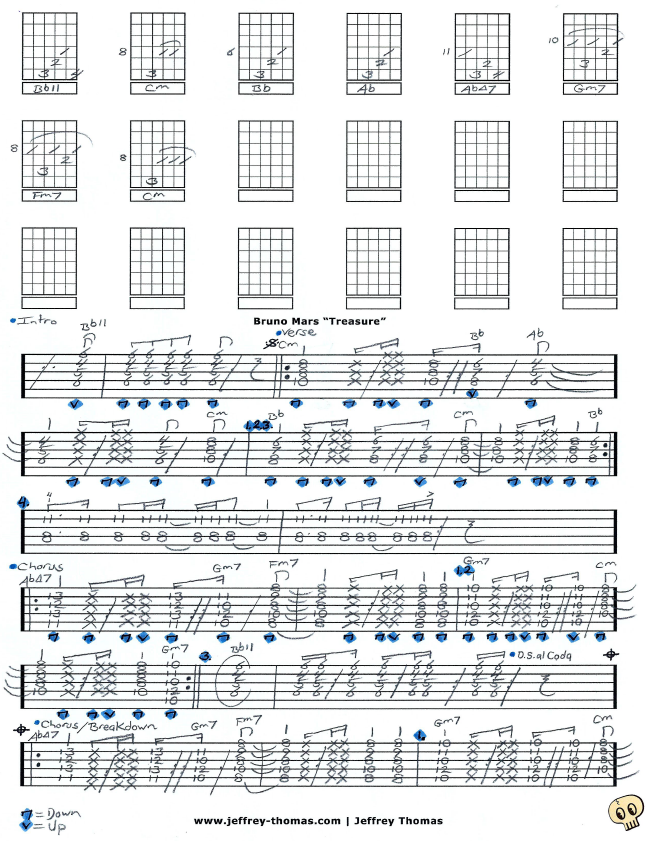 Learn To Play Treasure By Bruno Mars With Free Guitar Tab By