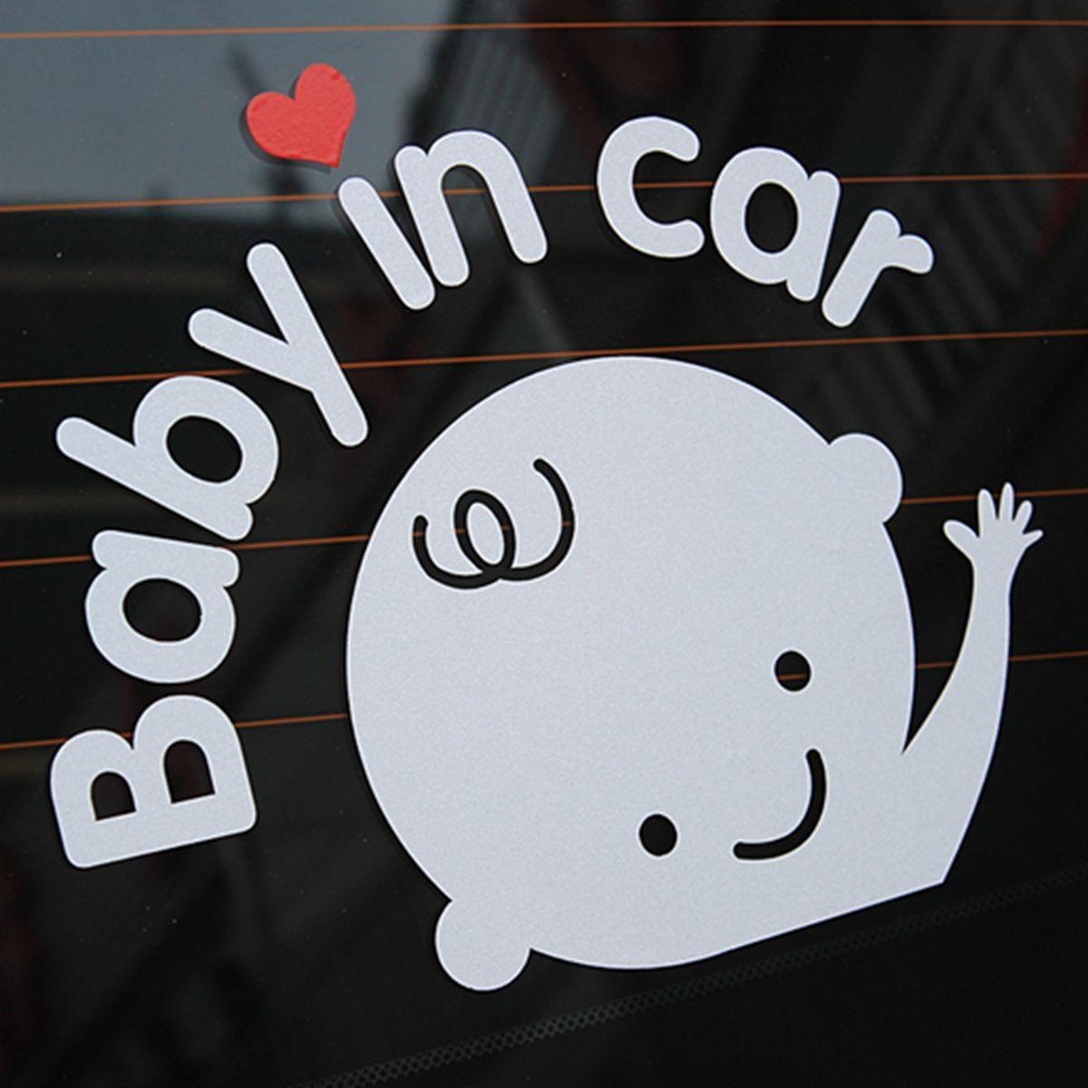 Bebé en coche agitando bebé a bordo de signo de seguridad pegatina ...